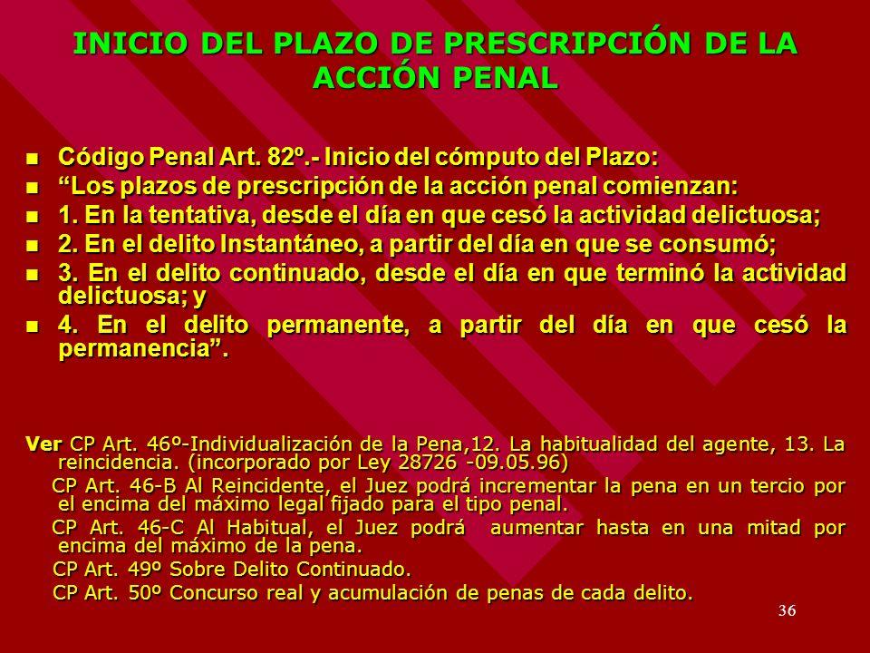 INICIO DEL PLAZO DE PRESCRIPCIÓN DE LA ACCIÓN PENAL