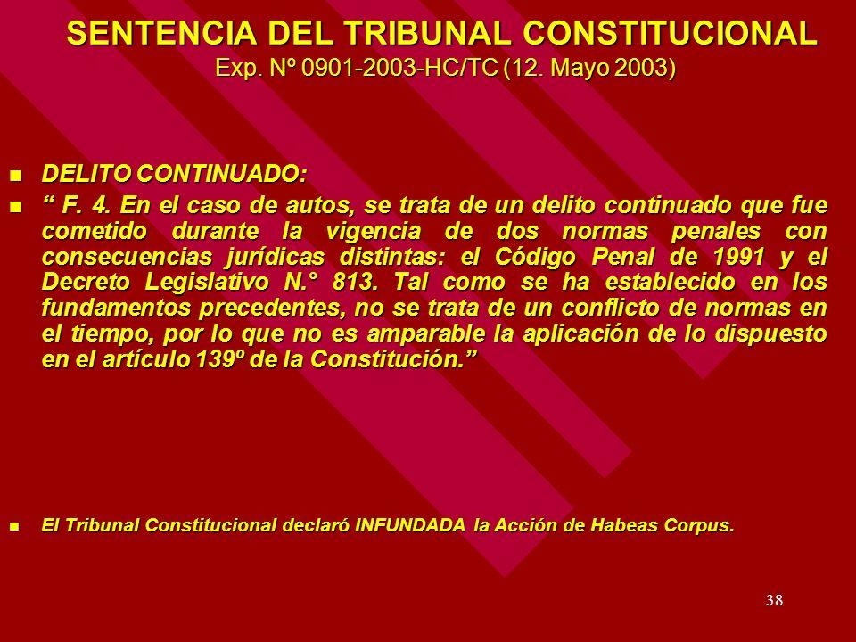 SENTENCIA DEL TRIBUNAL CONSTITUCIONAL Exp. Nº 0901-2003-HC/TC (12