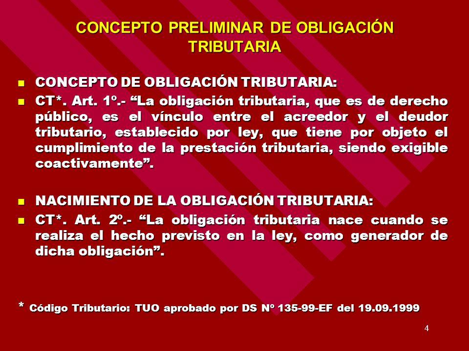 CONCEPTO PRELIMINAR DE OBLIGACIÓN TRIBUTARIA