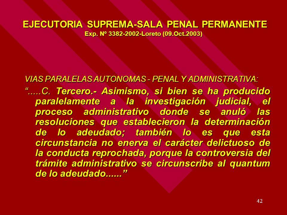 EJECUTORIA SUPREMA-SALA PENAL PERMANENTE Exp. Nº 3382-2002-Loreto (09