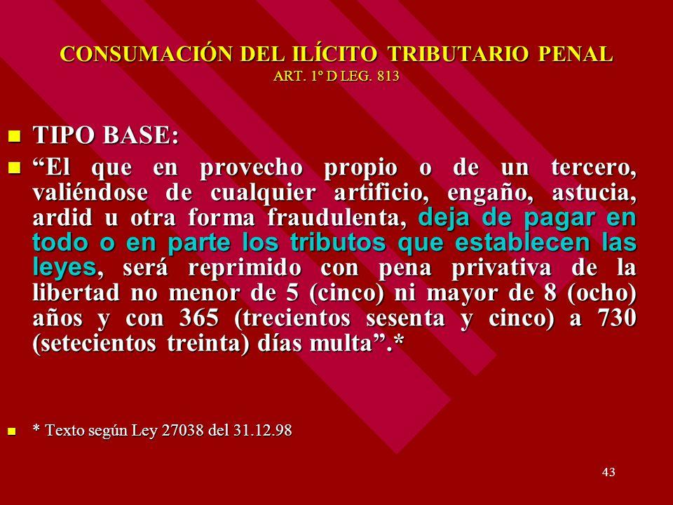 CONSUMACIÓN DEL ILÍCITO TRIBUTARIO PENAL ART. 1º D LEG. 813