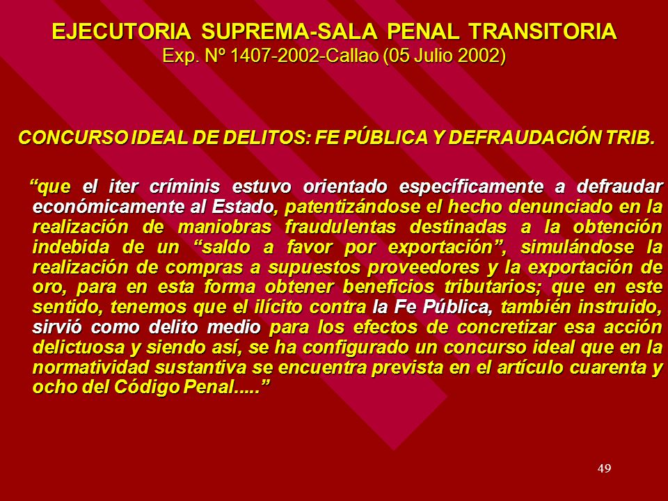 EJECUTORIA SUPREMA-SALA PENAL TRANSITORIA Exp