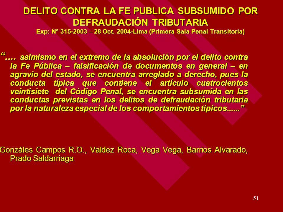 DELITO CONTRA LA FE PUBLICA SUBSUMIDO POR DEFRAUDACIÓN TRIBUTARIA Exp: N° 315-2003 – 28 Oct. 2004-Lima (Primera Sala Penal Transitoria)