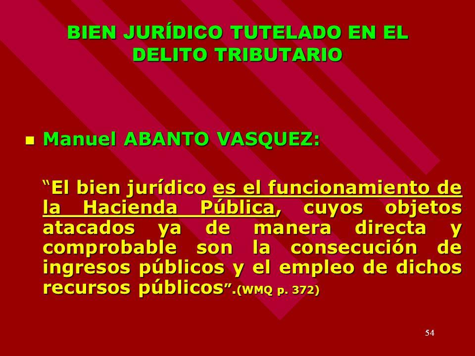 BIEN JURÍDICO TUTELADO EN EL DELITO TRIBUTARIO