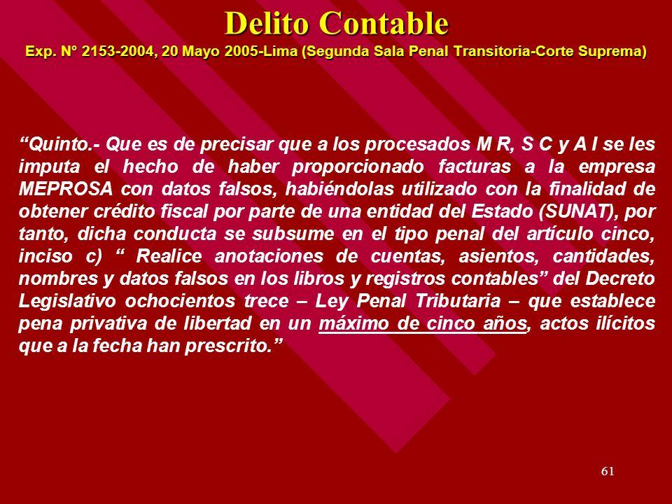 Delito Contable Exp. N° 2153-2004, 20 Mayo 2005-Lima (Segunda Sala Penal Transitoria-Corte Suprema)