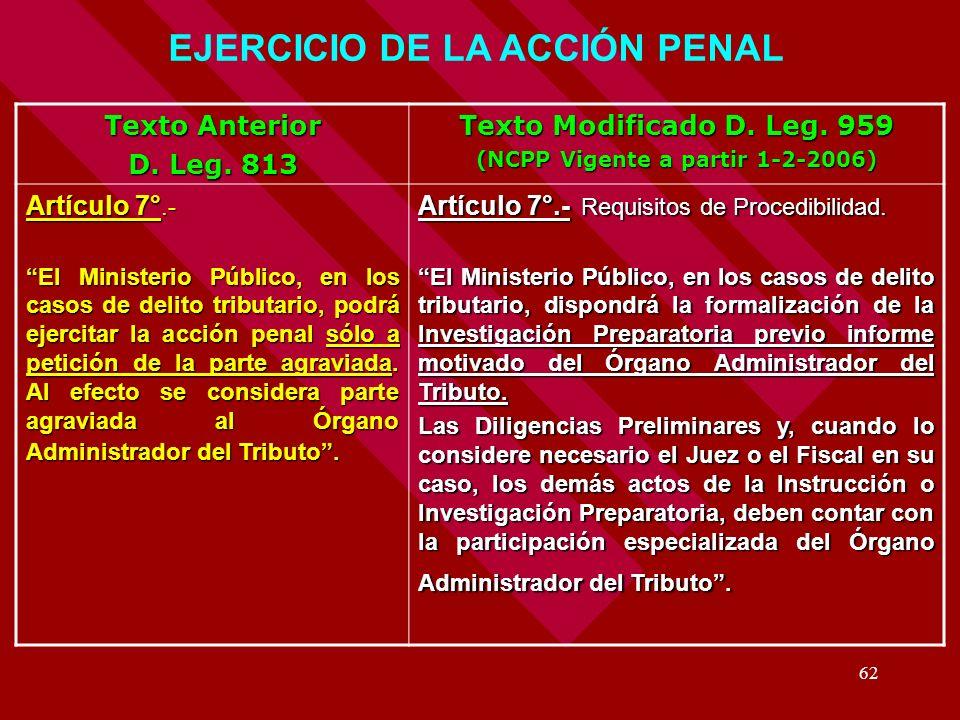 EJERCICIO DE LA ACCIÓN PENAL (NCPP Vigente a partir 1-2-2006)