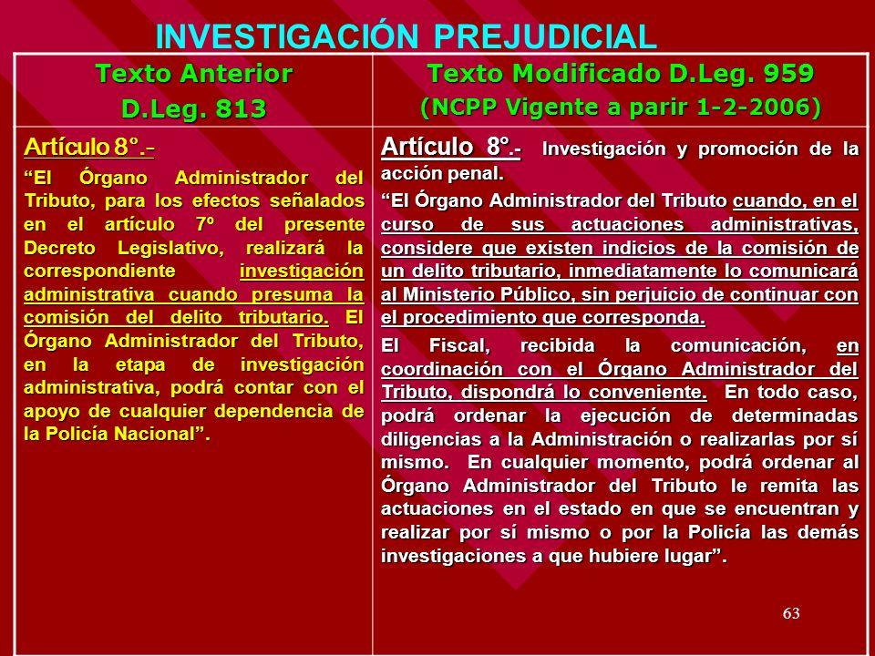 INVESTIGACIÓN PREJUDICIAL (NCPP Vigente a parir 1-2-2006)