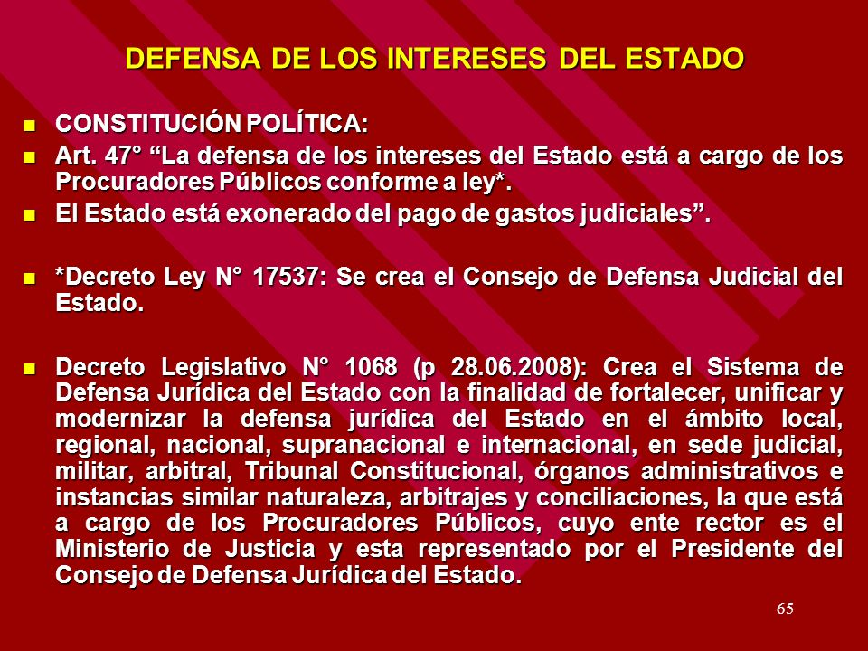 DEFENSA DE LOS INTERESES DEL ESTADO