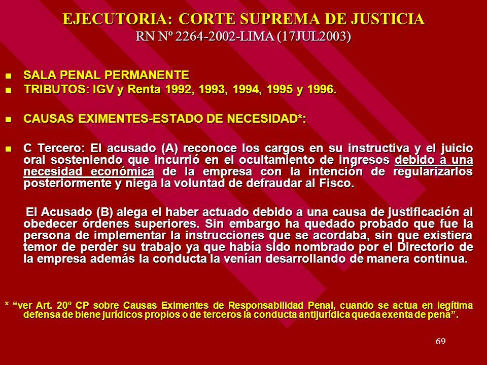 EJECUTORIA: CORTE SUPREMA DE JUSTICIA RN Nº 2264-2002-LIMA (17JUL2003)