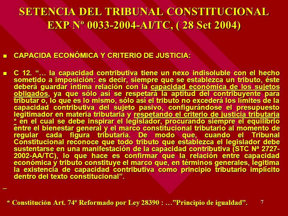 SETENCIA DEL TRIBUNAL CONSTITUCIONAL EXP Nº 0033-2004-AI/TC, ( 28 Set 2004)
