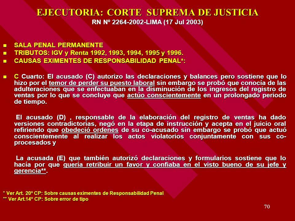 EJECUTORIA: CORTE SUPREMA DE JUSTICIA RN Nº 2264-2002-LIMA (17 Jul 2003)