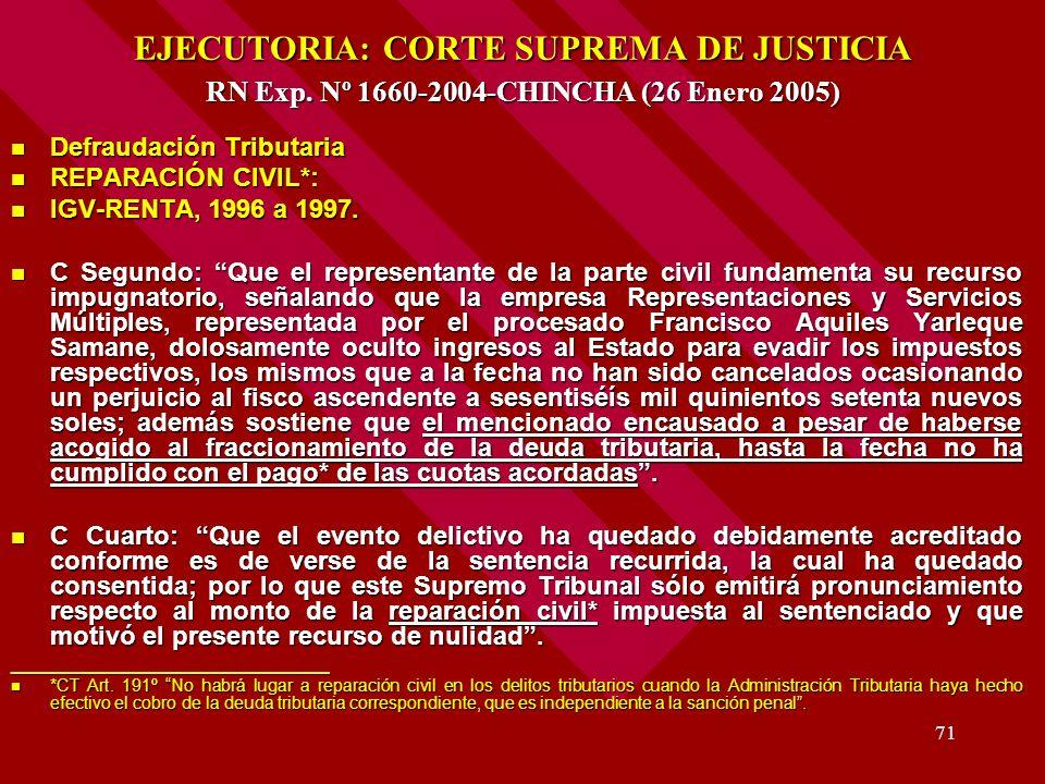EJECUTORIA: CORTE SUPREMA DE JUSTICIA RN Exp