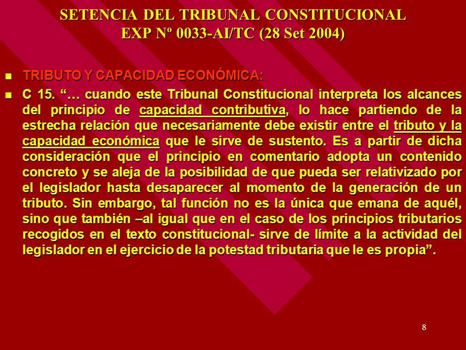 SETENCIA DEL TRIBUNAL CONSTITUCIONAL EXP Nº 0033-AI/TC (28 Set 2004)