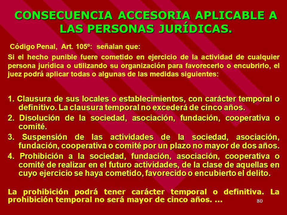 CONSECUENCIA ACCESORIA APLICABLE A LAS PERSONAS JURÍDICAS.