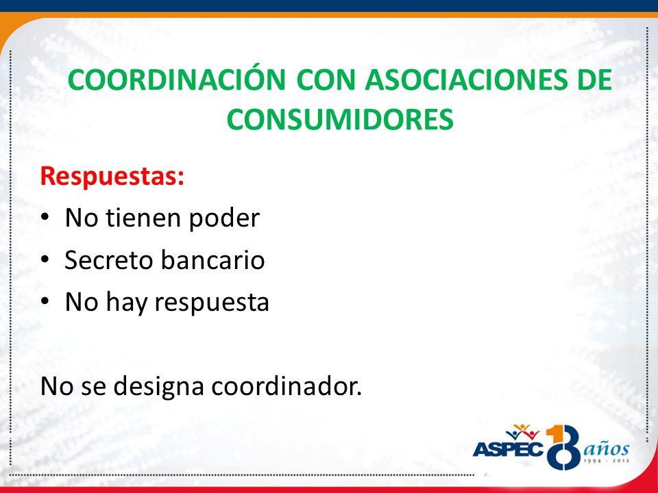 COORDINACIÓN CON ASOCIACIONES DE CONSUMIDORES
