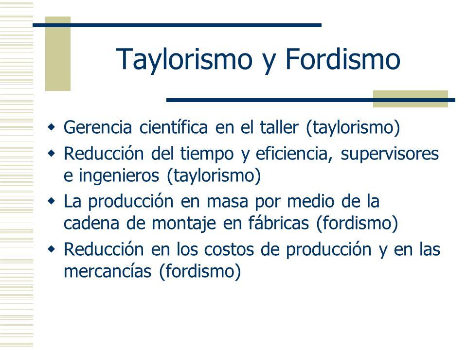 Taylorismo y Fordismo Gerencia científica en el taller (taylorismo)