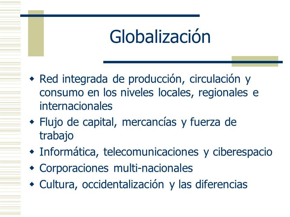 GlobalizaciónRed integrada de producción, circulación y consumo en los niveles locales, regionales e internacionales.