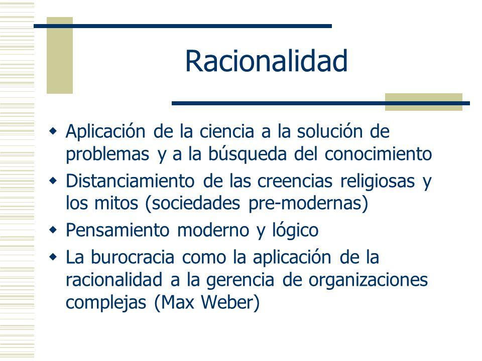 Racionalidad Aplicación de la ciencia a la solución de problemas y a la búsqueda del conocimiento.