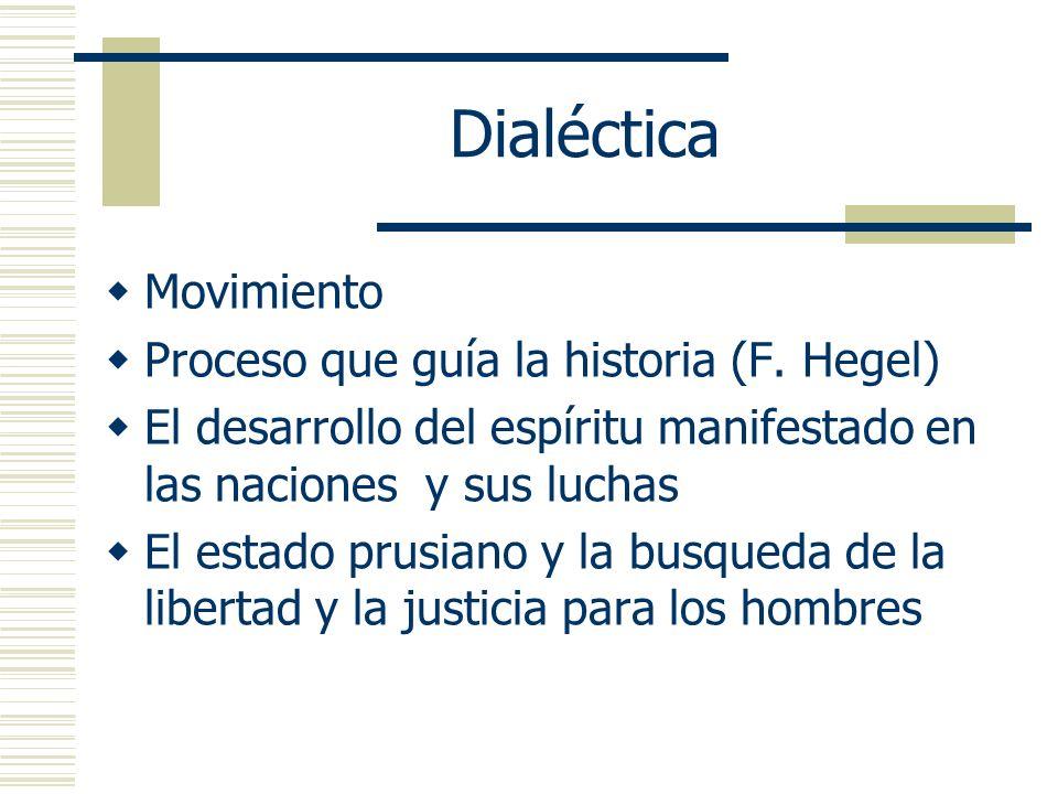 Dialéctica Movimiento Proceso que guía la historia (F. Hegel)
