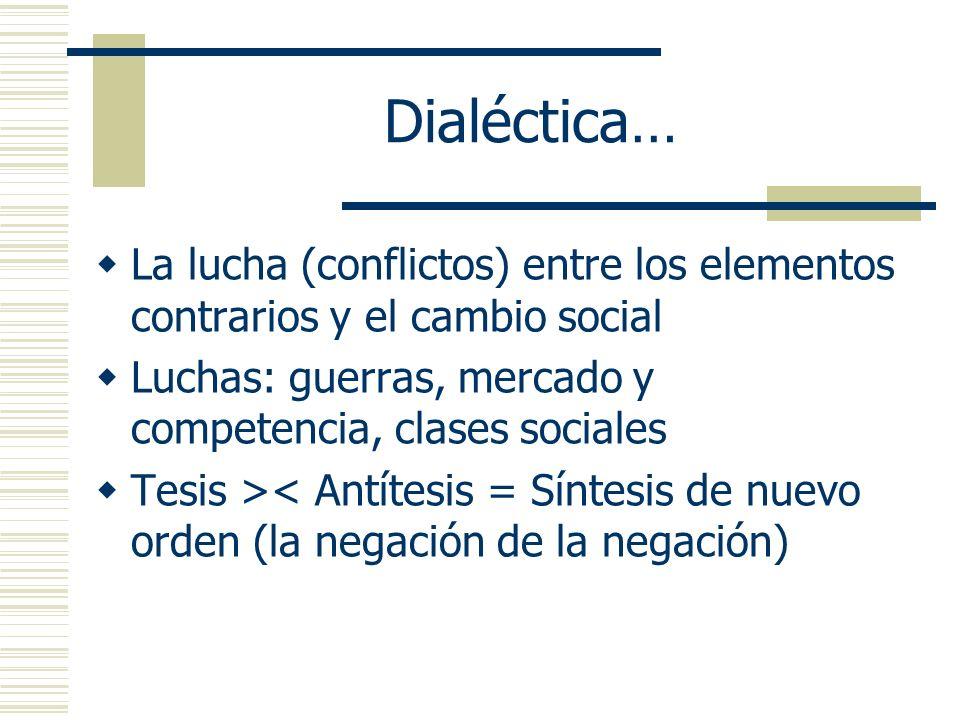 Dialéctica…La lucha (conflictos) entre los elementos contrarios y el cambio social. Luchas: guerras, mercado y competencia, clases sociales.