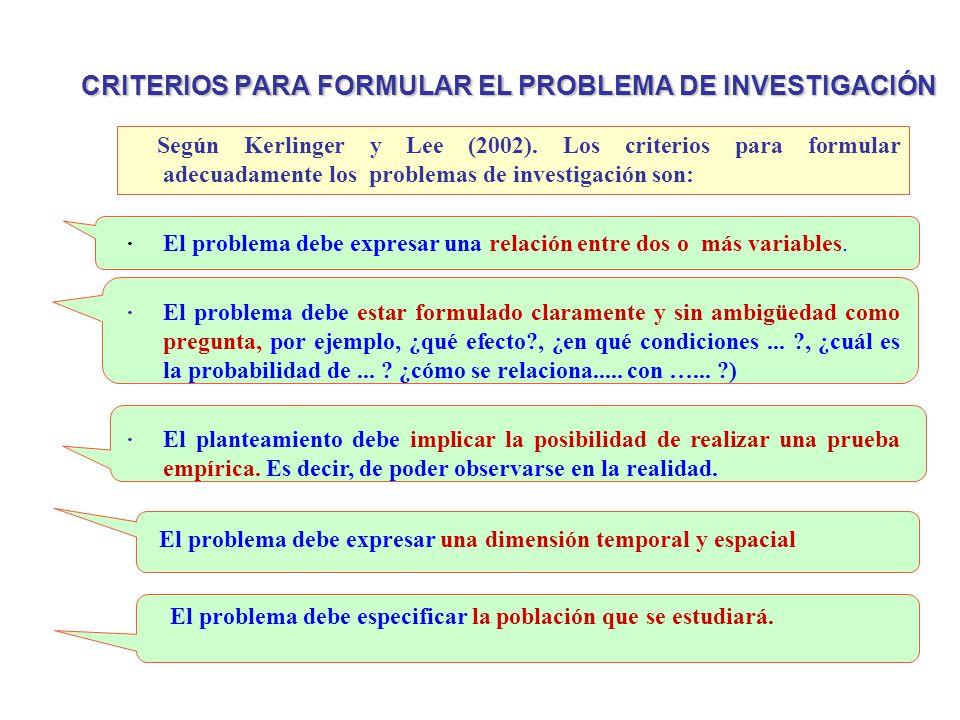 CRITERIOS PARA FORMULAR EL PROBLEMA DE INVESTIGACIÓN