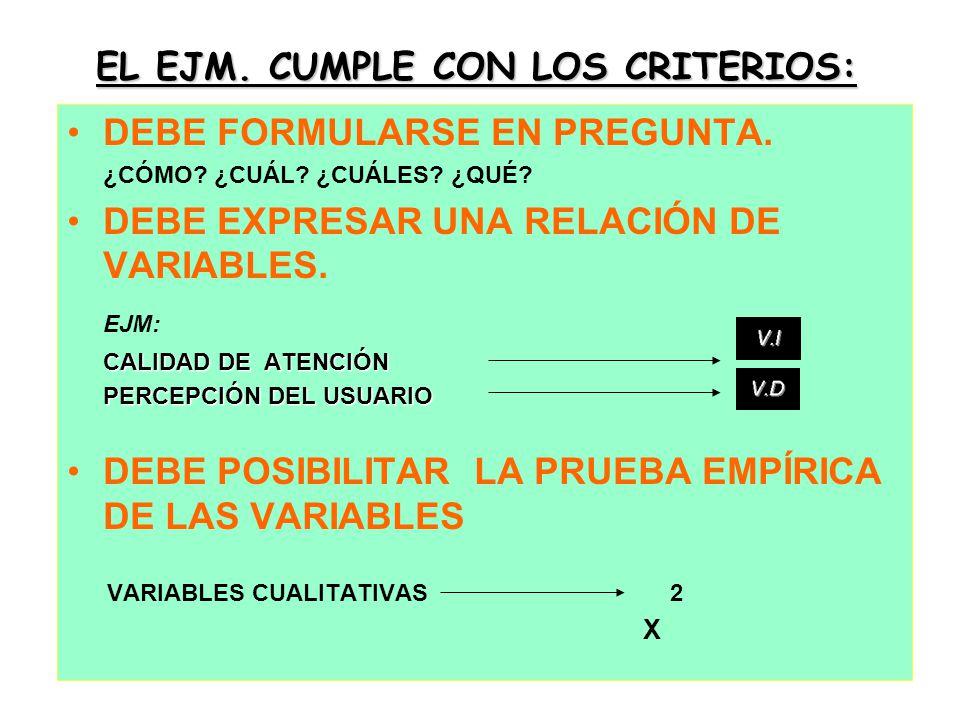EL EJM. CUMPLE CON LOS CRITERIOS: