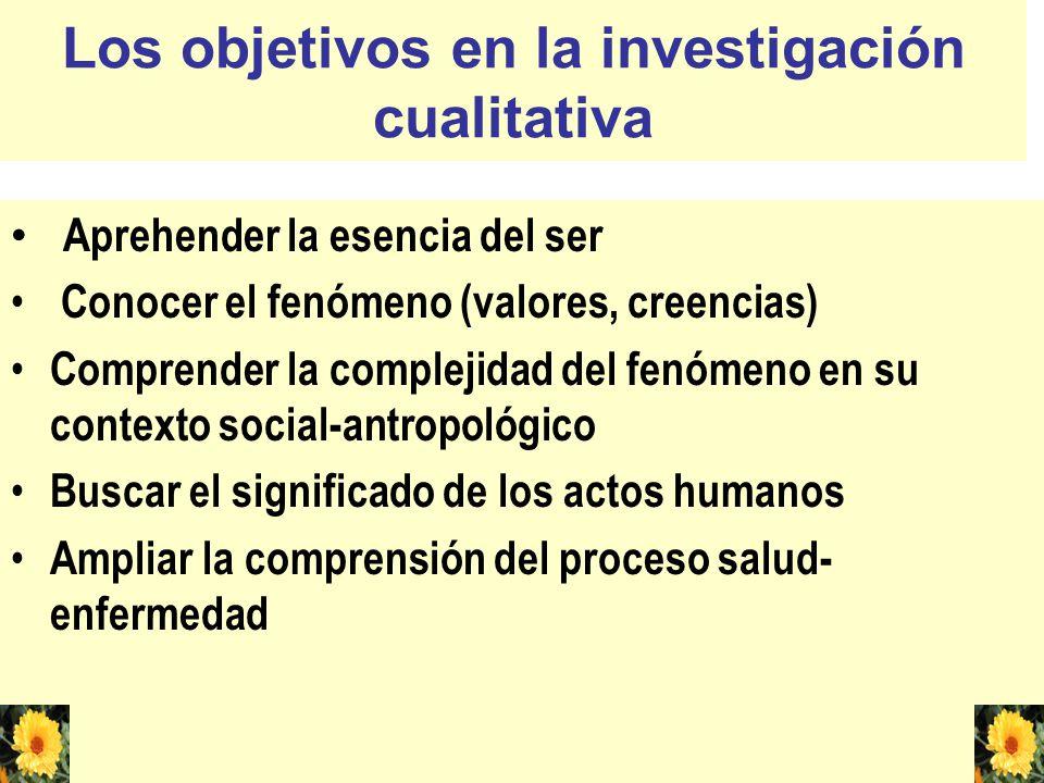 Los objetivos en la investigación cualitativa