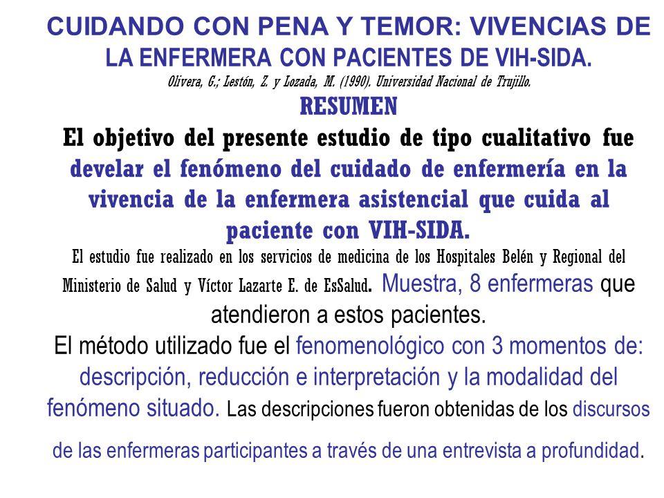 CUIDANDO CON PENA Y TEMOR: VIVENCIAS DE LA ENFERMERA CON PACIENTES DE VIH-SIDA.