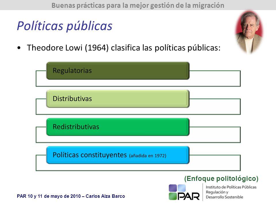 Políticas públicas Theodore Lowi (1964) clasifica las políticas públicas: (Enfoque politológico)