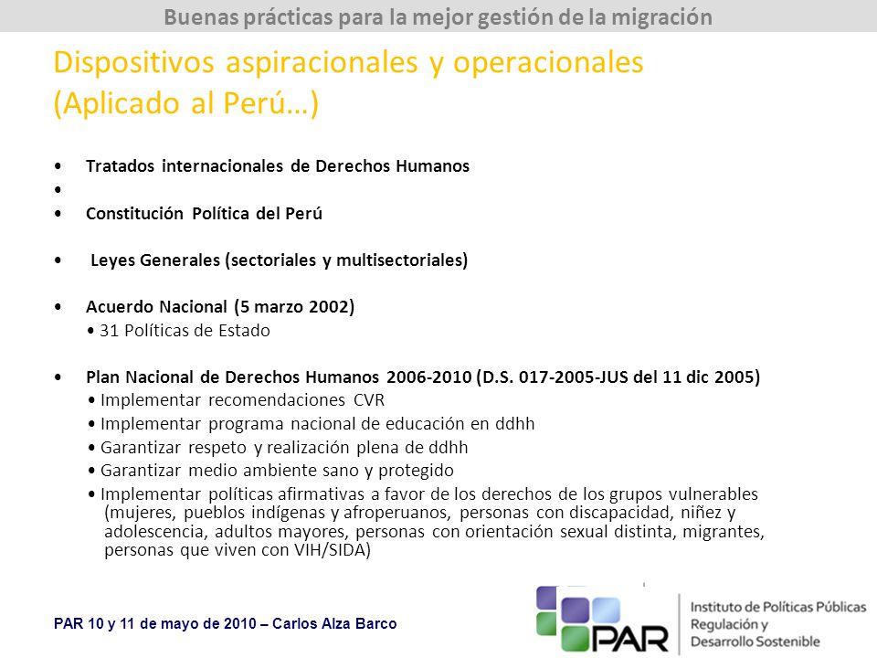 Dispositivos aspiracionales y operacionales (Aplicado al Perú…)