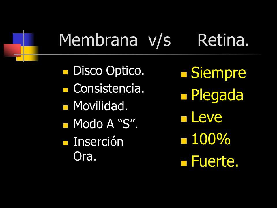 Membrana v/s Retina. Siempre Plegada Leve 100% Fuerte. Disco Optico.