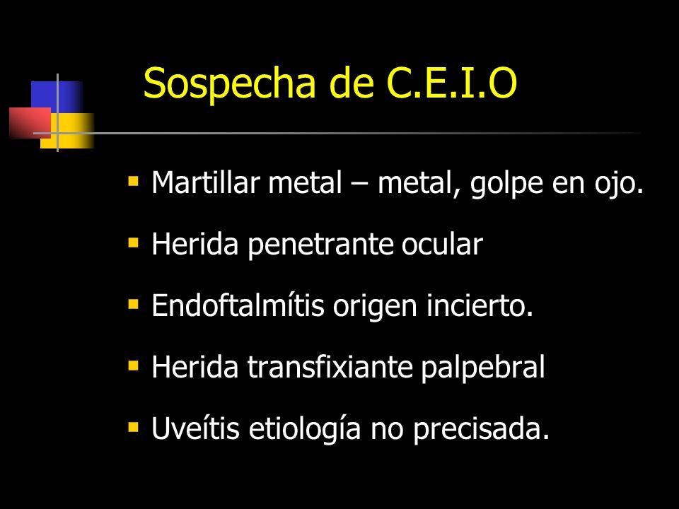 Sospecha de C.E.I.O Martillar metal – metal, golpe en ojo.