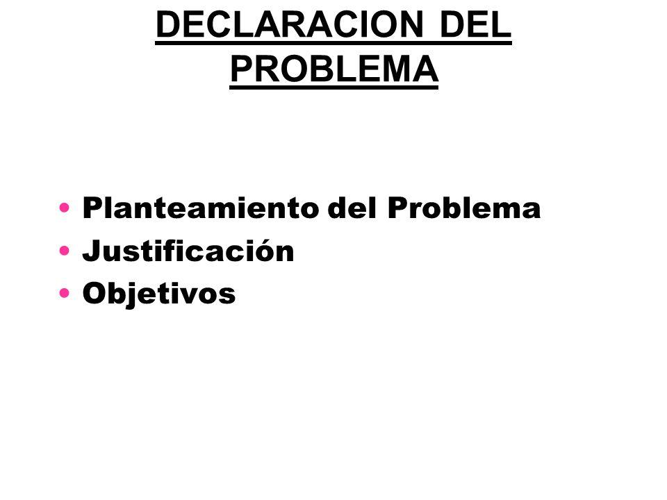 DECLARACION DEL PROBLEMA