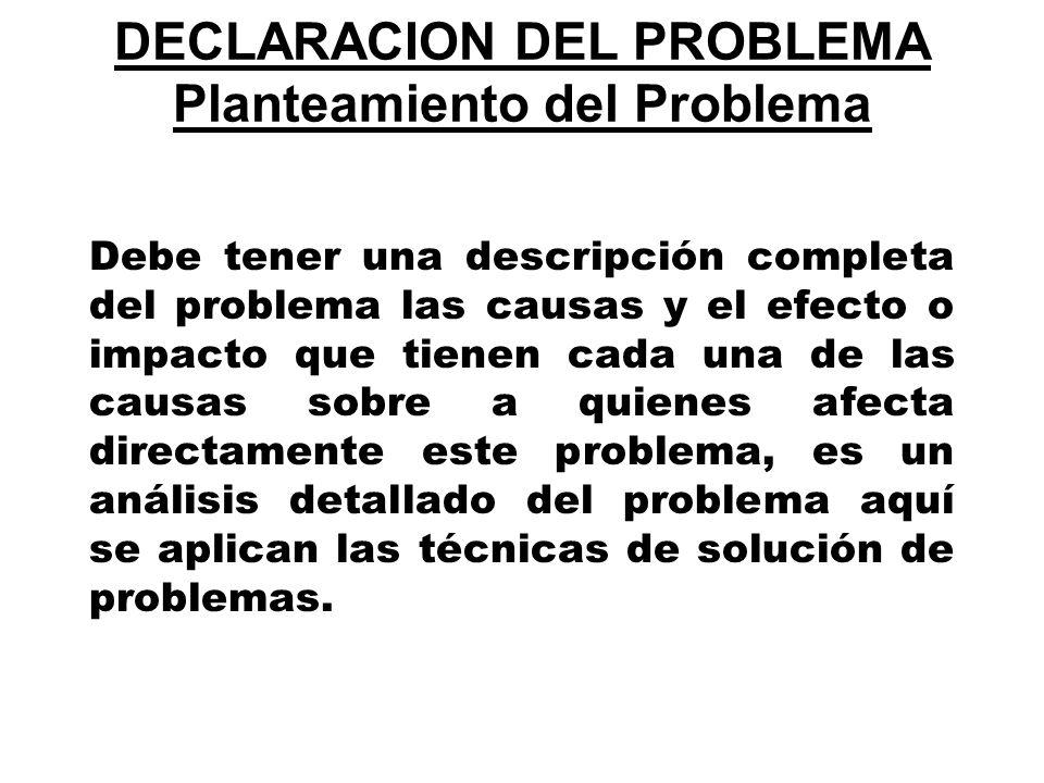 DECLARACION DEL PROBLEMA Planteamiento del Problema