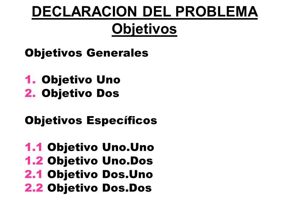 DECLARACION DEL PROBLEMA Objetivos