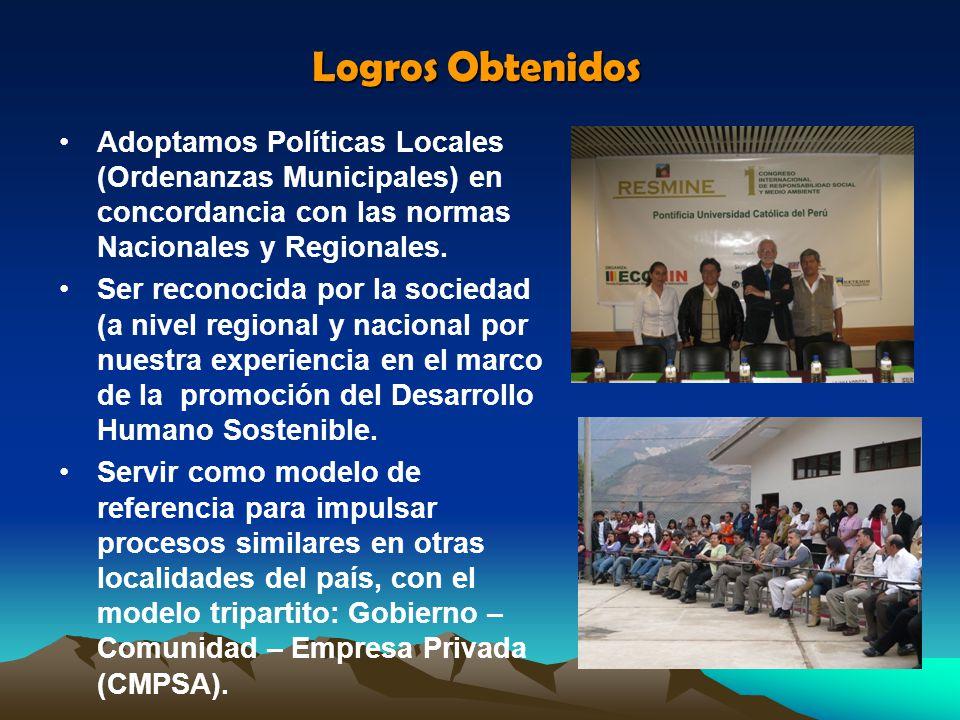 Logros Obtenidos Adoptamos Políticas Locales (Ordenanzas Municipales) en concordancia con las normas Nacionales y Regionales.