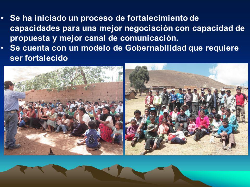 Se ha iniciado un proceso de fortalecimiento de capacidades para una mejor negociación con capacidad de propuesta y mejor canal de comunicación.