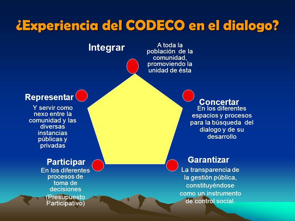 ¿Experiencia del CODECO en el dialogo