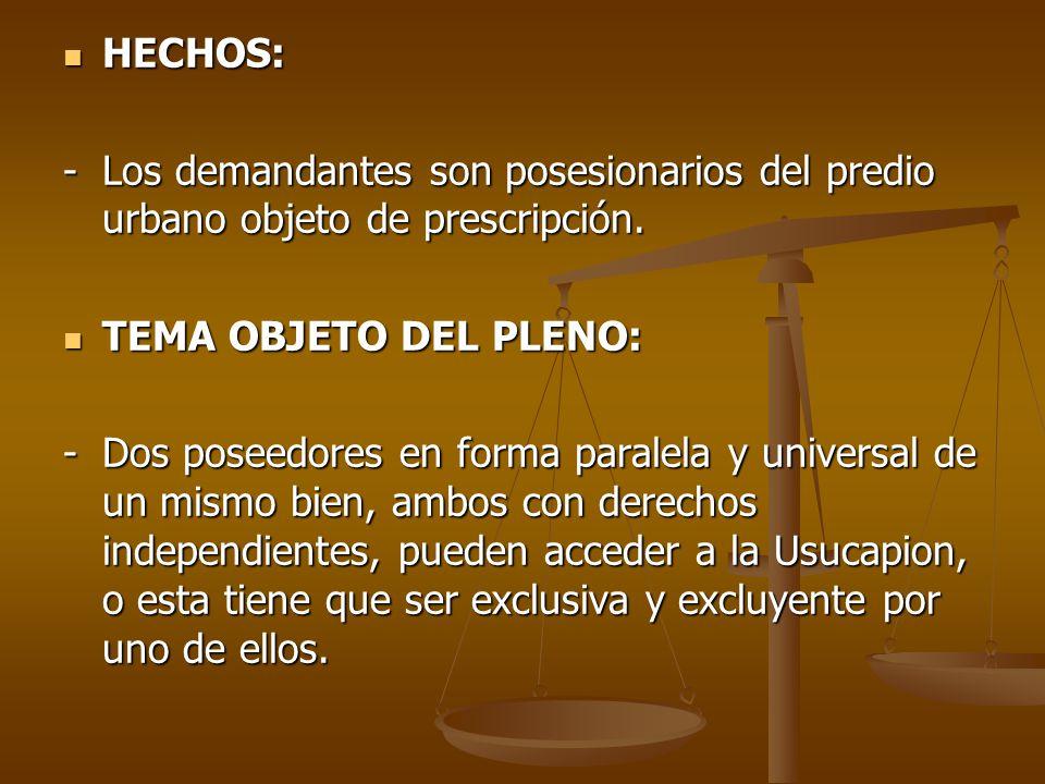 HECHOS: - Los demandantes son posesionarios del predio urbano objeto de prescripción. TEMA OBJETO DEL PLENO: