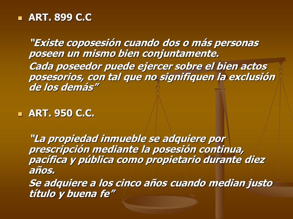 ART. 899 C.C Existe coposesión cuando dos o más personas poseen un mismo bien conjuntamente.