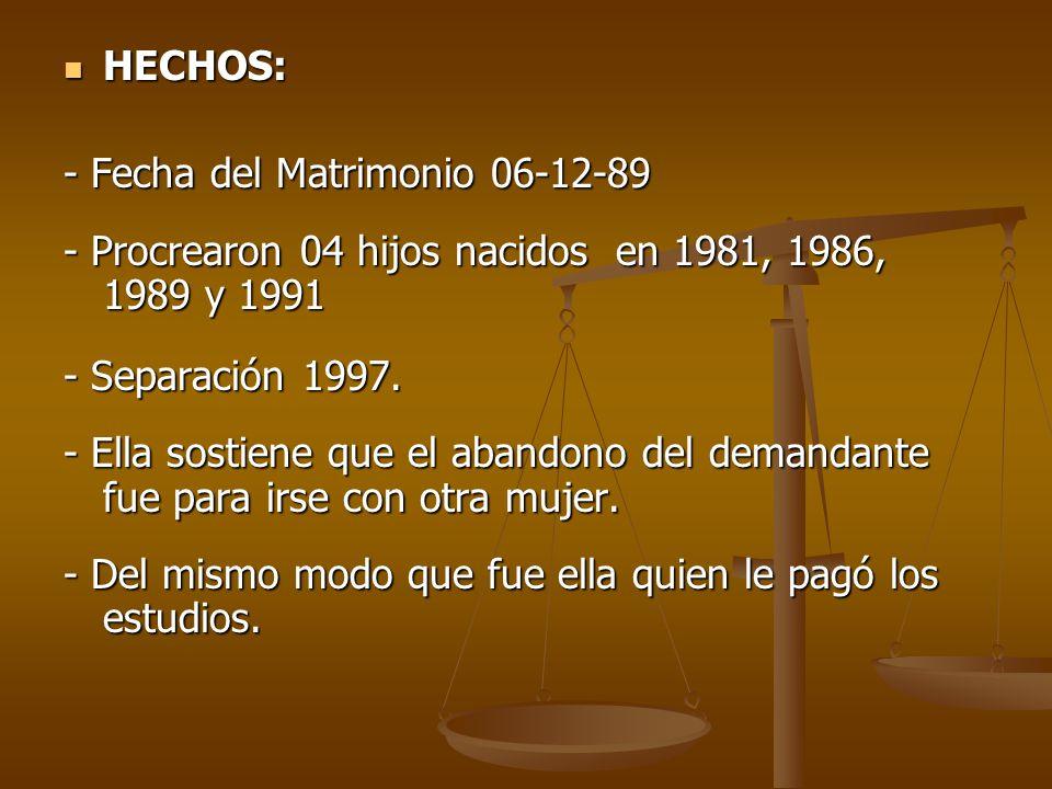 HECHOS: - Fecha del Matrimonio 06-12-89. - Procrearon 04 hijos nacidos en 1981, 1986, 1989 y 1991.