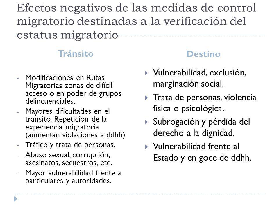 Efectos negativos de las medidas de control migratorio destinadas a la verificación del estatus migratorio