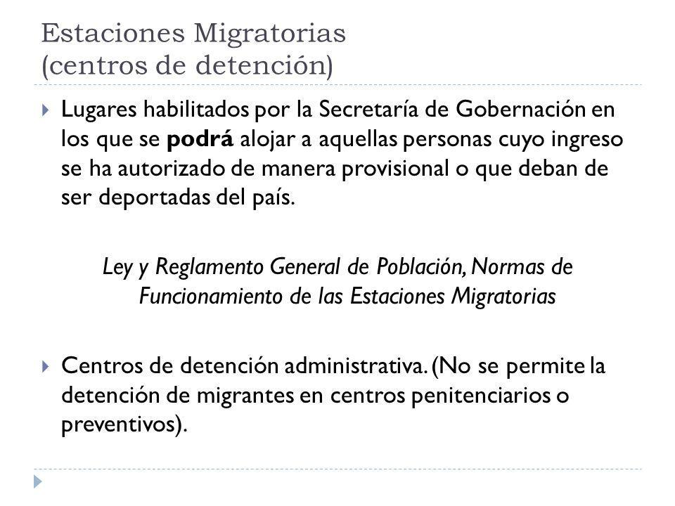 Estaciones Migratorias (centros de detención)