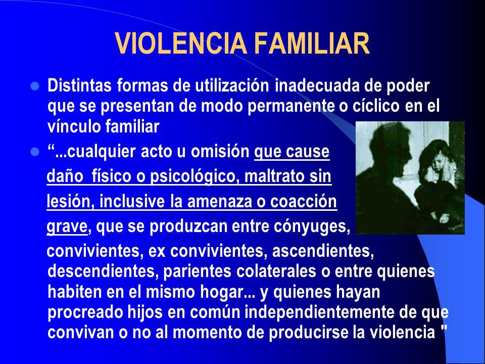 VIOLENCIA FAMILIAR Distintas formas de utilización inadecuada de poder que se presentan de modo permanente o cíclico en el vínculo familiar.