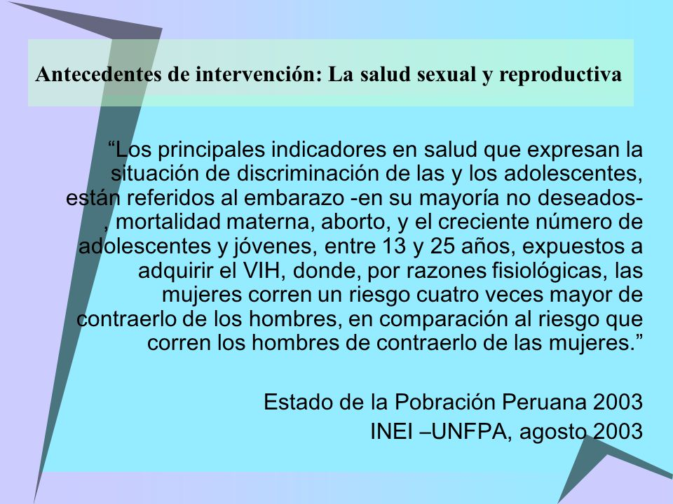 Antecedentes de intervención: La salud sexual y reproductiva