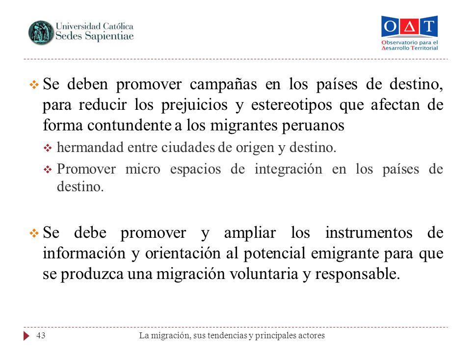 Se deben promover campañas en los países de destino, para reducir los prejuicios y estereotipos que afectan de forma contundente a los migrantes peruanos