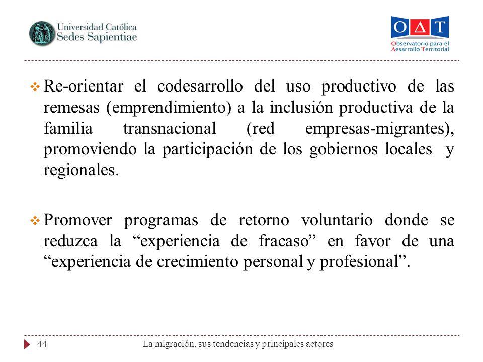 Re-orientar el codesarrollo del uso productivo de las remesas (emprendimiento) a la inclusión productiva de la familia transnacional (red empresas-migrantes), promoviendo la participación de los gobiernos locales y regionales.