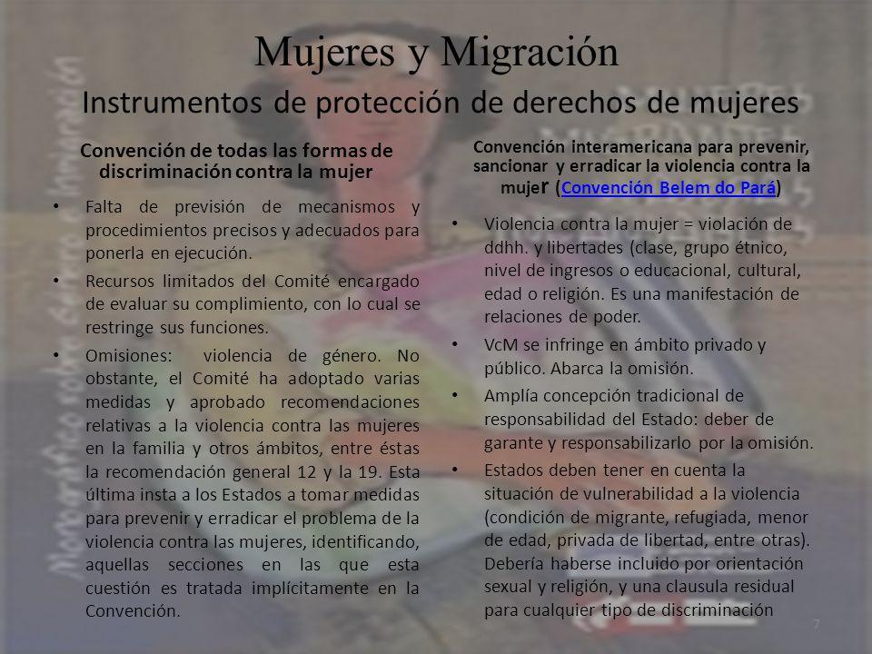 Mujeres y Migración Instrumentos de protección de derechos de mujeres