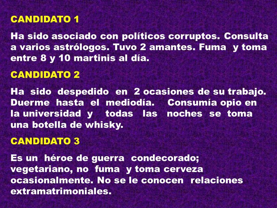 CANDIDATO 1 Ha sido asociado con políticos corruptos. Consulta a varios astrólogos. Tuvo 2 amantes. Fuma y toma entre 8 y 10 martinis al día.