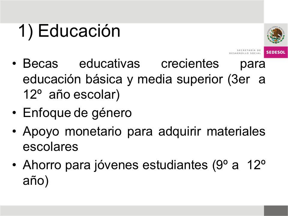 1) Educación Becas educativas crecientes para educación básica y media superior (3er a 12º año escolar)
